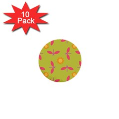 Dragonfly Sun Flower Seamlessly 1  Mini Buttons (10 Pack)