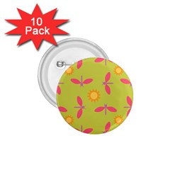 Dragonfly Sun Flower Seamlessly 1 75  Buttons (10 Pack) by Nexatart