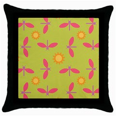 Dragonfly Sun Flower Seamlessly Throw Pillow Case (black)