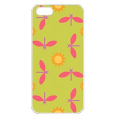Dragonfly Sun Flower Seamlessly Apple Iphone 5 Seamless Case (white)
