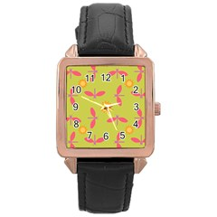 Dragonfly Sun Flower Seamlessly Rose Gold Leather Watch
