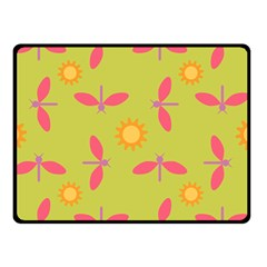 Dragonfly Sun Flower Seamlessly Double Sided Fleece Blanket (small)