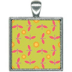 Dragonfly Sun Flower Seamlessly Square Necklace