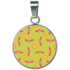 Dragonfly Sun Flower Seamlessly 20mm Round Necklace