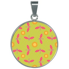 Dragonfly Sun Flower Seamlessly 30mm Round Necklace