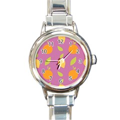 Seamlessly Pattern Fruits Fruit Round Italian Charm Watch