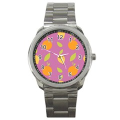 Seamlessly Pattern Fruits Fruit Sport Metal Watch by Nexatart