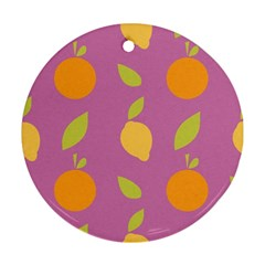 Seamlessly Pattern Fruits Fruit Round Ornament (two Sides) by Nexatart