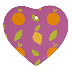 Seamlessly Pattern Fruits Fruit Heart Ornament (two Sides) by Nexatart