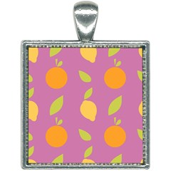 Seamlessly Pattern Fruits Fruit Square Necklace