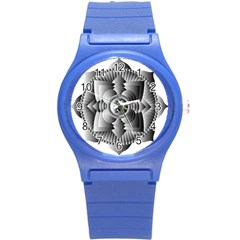 Lotus Mandala Flower Floral Round Plastic Sport Watch (s) by Nexatart