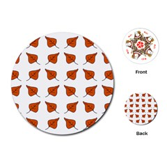 Pattern Fallen Leaves Autumn Playing Cards (round) by Nexatart