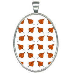 Pattern Fallen Leaves Autumn Oval Necklace