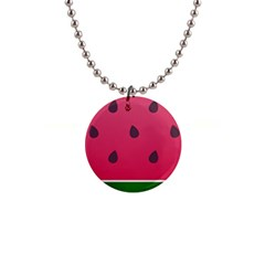 Watermelon Fruit Summer Red Fresh 1  Button Necklace