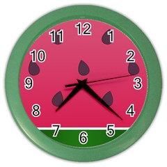 Watermelon Fruit Summer Red Fresh Color Wall Clock by Nexatart