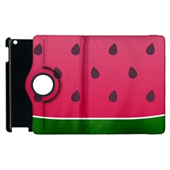Watermelon Fruit Summer Red Fresh Apple Ipad 2 Flip 360 Case by Nexatart