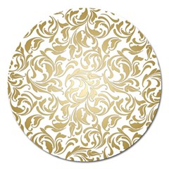 Gold Vintage Rococo Model Patern Magnet 5  (round)