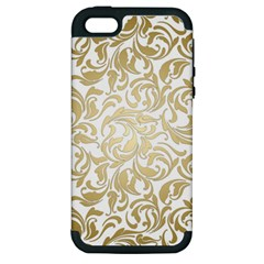 Gold Vintage Rococo Model Patern Apple Iphone 5 Hardshell Case (pc+silicone)