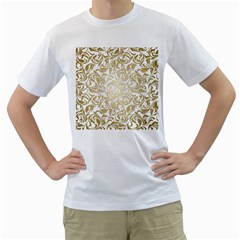 Gold Vintage Rococo Model Patern Men s T-shirt (white)  by Nexatart
