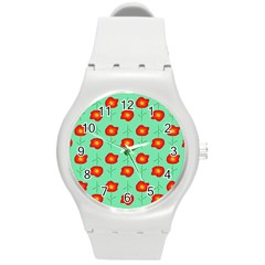 Flowers Pattern Ornament Template Round Plastic Sport Watch (m)