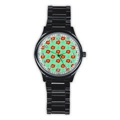 Flowers Pattern Ornament Template Stainless Steel Round Watch