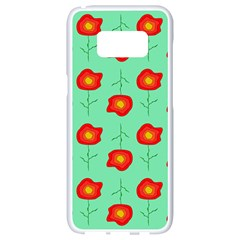 Flowers Pattern Ornament Template Samsung Galaxy S8 White Seamless Case
