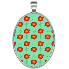Flowers Pattern Ornament Template Oval Necklace