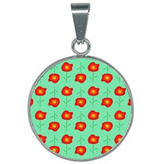 Flowers Pattern Ornament Template 25mm Round Necklace