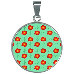 Flowers Pattern Ornament Template 30mm Round Necklace by Nexatart