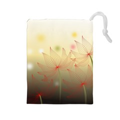 Flower Summer S Nature Plant Drawstring Pouch (large)