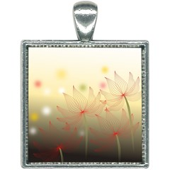 Flower Summer S Nature Plant Square Necklace