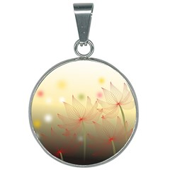 Flower Summer S Nature Plant 25mm Round Necklace