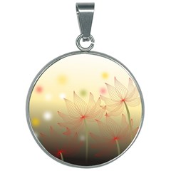 Flower Summer S Nature Plant 30mm Round Necklace
