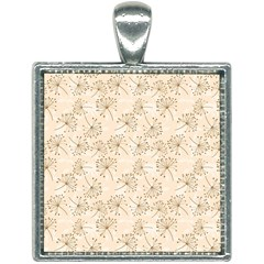 Dandelion Rose Rosa Flower Square Necklace