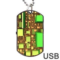 Blocks Cubes Construction Design Dog Tag Usb Flash (two Sides) by Nexatart