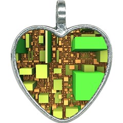 Blocks Cubes Construction Design Heart Necklace
