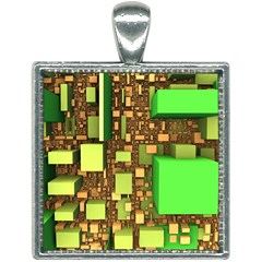 Blocks Cubes Construction Design Square Necklace by Nexatart