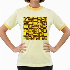 Cubes Grid Geometric 3d Square Women s Fitted Ringer T Shirt by Nexatart
