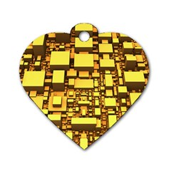 Cubes Grid Geometric 3d Square Dog Tag Heart (two Sides) by Nexatart