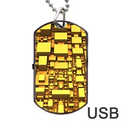 Cubes Grid Geometric 3d Square Dog Tag Usb Flash (one Side) by Nexatart