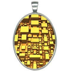 Cubes Grid Geometric 3d Square Oval Necklace