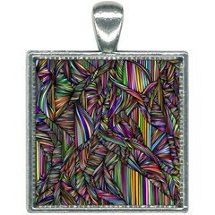 Background Wallpaper Abstract Lines Square Necklace