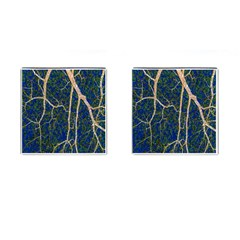 Green Leaves Blue Background Night Cufflinks (square) by Nexatart