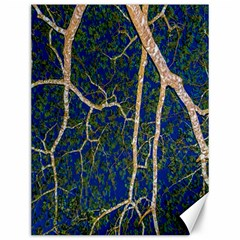 Green Leaves Blue Background Night Canvas 12  X 16  by Nexatart
