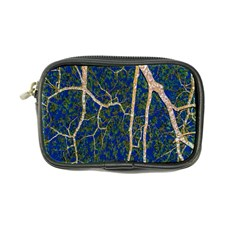 Green Leaves Blue Background Night Coin Purse