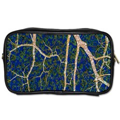 Green Leaves Blue Background Night Toiletries Bag (two Sides) by Nexatart