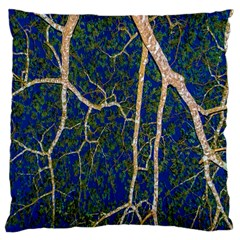 Green Leaves Blue Background Night Large Cushion Case (one Side)
