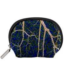 Green Leaves Blue Background Night Accessory Pouch (small) by Nexatart