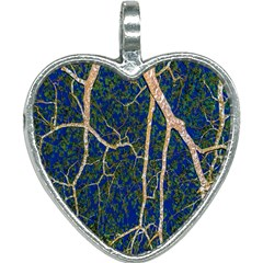 Green Leaves Blue Background Night Heart Necklace