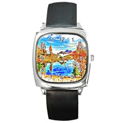 Lake Chalet Mountain Art Square Metal Watch by Nexatart